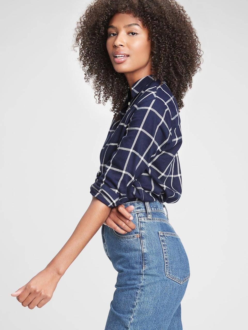 <p>We love this <span>Gap Blue Window Pane Plaid Everyday Shirt</span> ($26, originally $60). It's very girls next door cool. Couldn't you see Joey Potter wearing this on <strong>Dawson's Creek</strong>?</p>