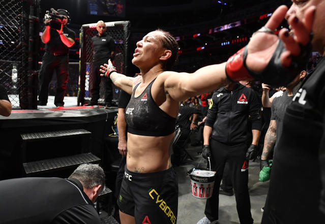 "On Monday, Cris ""Cyborg"" Justino said she needs a public apology from UFC president Dana White for his years of bullying and sexual harassment before she's willing to sign a new contract. (Jeff Bottari/Getty Images)"