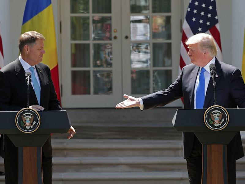 Donald Trump with Romanian President Klaus Iohannis