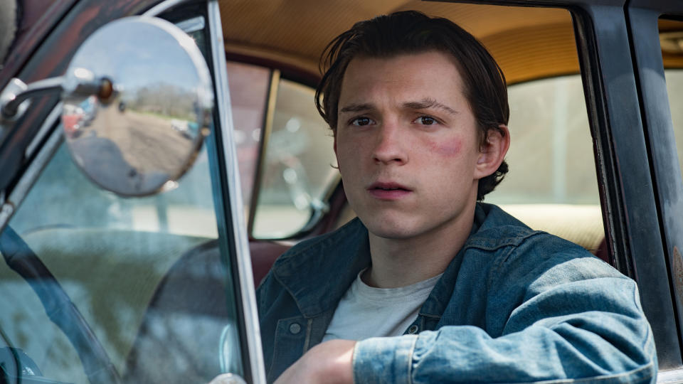 Tom Holland as Arvin Russell in 'The Devil All the Time'. (Credit: Glen Wilson/Netflix)