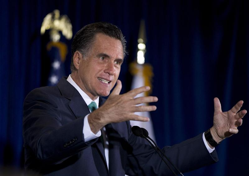 In this March 26, 2012, photo, Republican presidential candidate, former Massachusetts Gov. Mitt Romney gestures while speaking at NuVasive, Inc., a medical device company, in San Diego, Calif. Romney edged into the mop-up phase of the race for the Republican presidential nomination on Wednesday, March 28, 2012, buoyed by Newt Gingrich's decision to scale back his campaign to the vanishing point and Rick Santorum's statement that he would take the No. 2 spot on the party ticket in the fall. (AP Photo/Steven Senne)