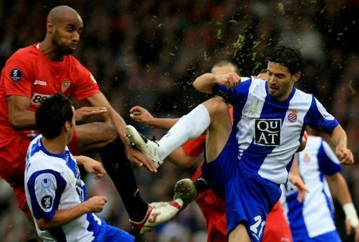 Espanyol's Dani Jarque in action in the 2007 UEFA Cup final against Sevilla in Glasgow