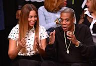 <p>Watching Jay-Z's beloved Brooklyn Nets at the Barclays Centre in 2014.</p>