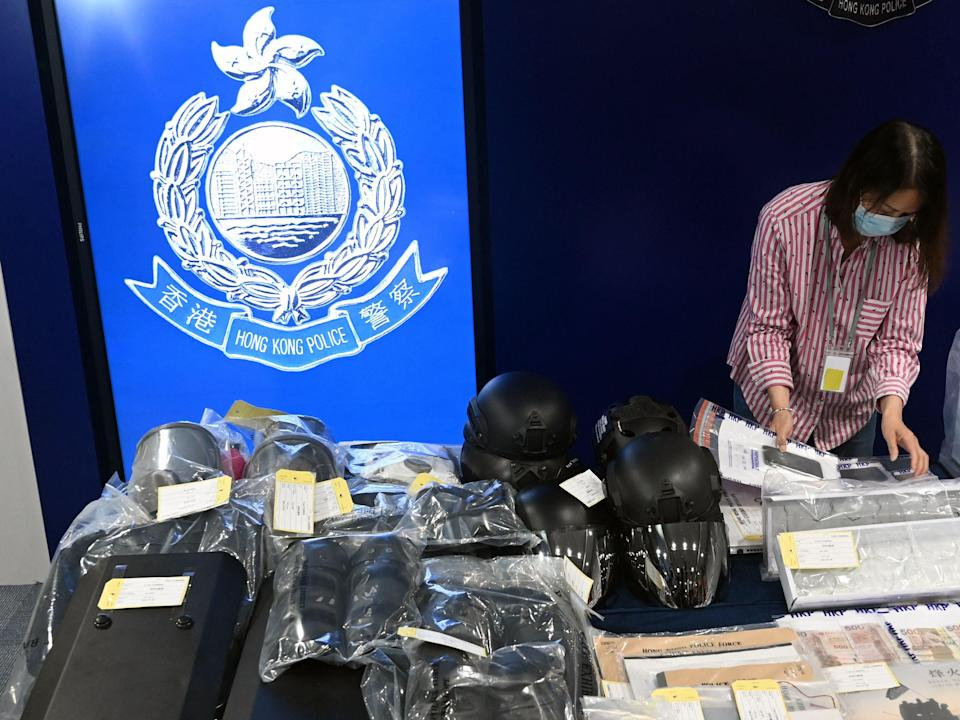 Seized items on display at the Hong Kong police headquarters after nine people were arrested, accused of involvement in a terrorist bombing plot (AFP via Getty Images)