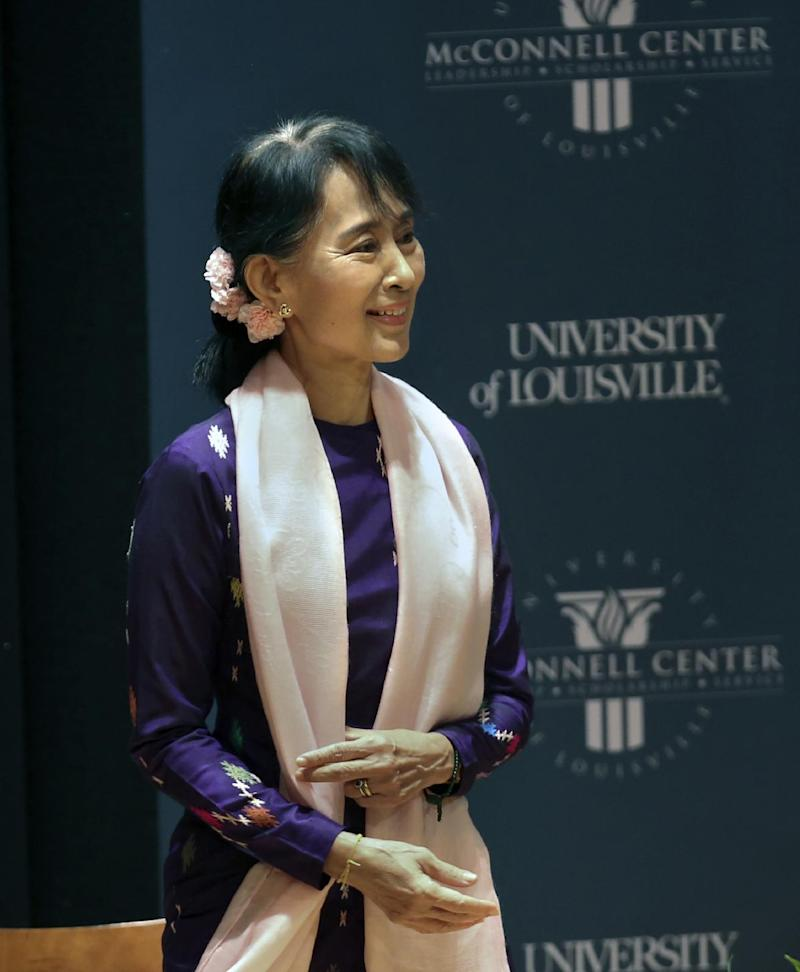 Nobel Peace Prize recipient Aung San Suu Kyi speaks at the University of Louisville School of Music's  Comstock Hall Monday Sept. 24, 2012 in Louisville, Ky.  (AP Photo/The Courier-Journal,Scott Utterback ) NO SALES; MAGS OUT; NO ARCHIVE; MANDATORY CREDIT