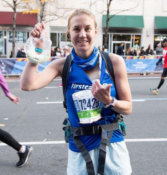 PHOTO: Molly Waitz, 27, of Cutchogue, N.Y., breast pumped while running the 2019 New York City Marathon on Nov. 3, 2019. (Joe Jenkins Photography)