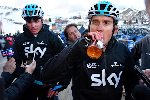 Britain's Geraint Thomas, right, and Chris Froome meet the media after completing the 4th stage of the Tirreno-Adriatico cycling race, from Foligno to Sassotetto, Italy, Saturday, March 10, 2018. (Dario Belingheri/ANSA via AP)
