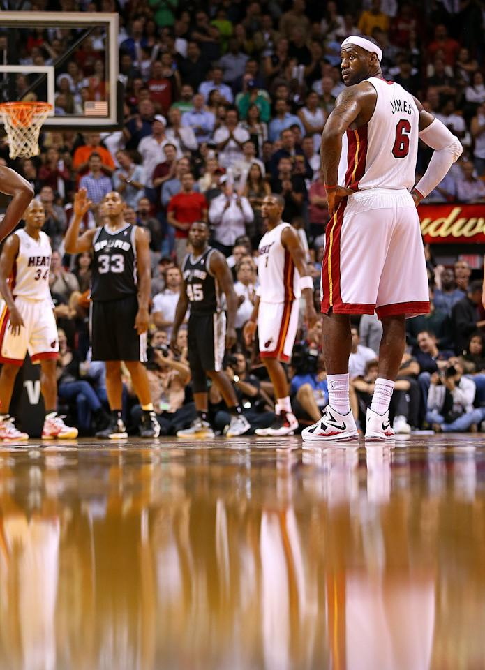MIAMI, FL - NOVEMBER 29:  LeBron James #6 of the Miami Heat looks on during a game against the San Antonio Spurs at American Airlines Arena on November 29, 2012 in Miami, Florida.  (Photo by Mike Ehrmann/Getty Images)