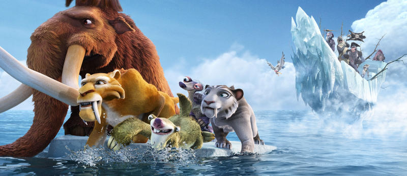 "This image released by 20th Century Fox shows characters, from left, Manny, voiced by Ray Romano, Diego, voiced by Denis Leary, Sid, voiced byJohn Leguizamo, Granny, voiced by Wanda Sykes and Shira, voiced by Jennifer Lopez in a scene from the animated film, ""Ice Age: Continental Drift."" (AP Photo/20th Century Fox)"