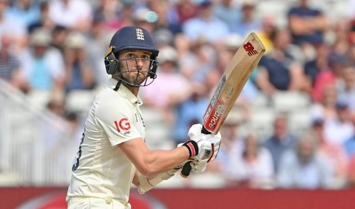 On the attack - England's Mark Wood during his 41 in the second Test against New Zealand at Edgbaston on Friday