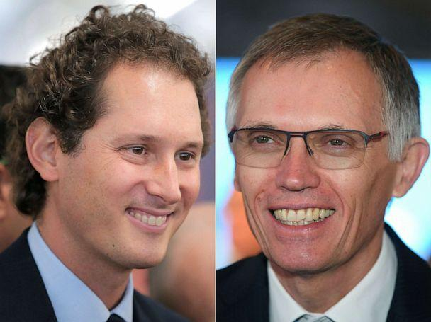 PHOTO: Fiat's chairman John Elkann on May 22, 2014, left, and Carlos Tavares, CEO of PSA Group, Sept. 12, 2017. French car maker PSA and Fiat Chrysler announced an agreement to create the world's fourth largest automaker, Dec. 18, 2019. (AFP via Getty Images, FILE)