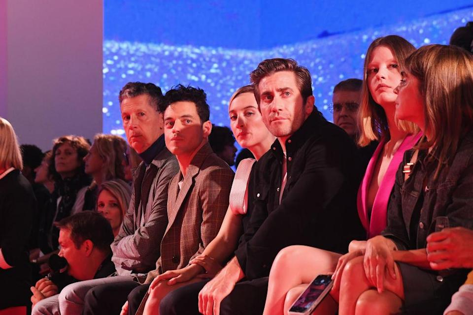 <p>Stefano Tonchi, Rami Malek, Saoirse Ronan, Jake Gyllenhaal and Mia Goth attend the Calvin Klein Collection Spring 2019 show during New York Fashion Week at the New York Stock Exchange on September 11, 2018 in New York City. (Photo: Nicholas Hunt/Getty Images) </p>