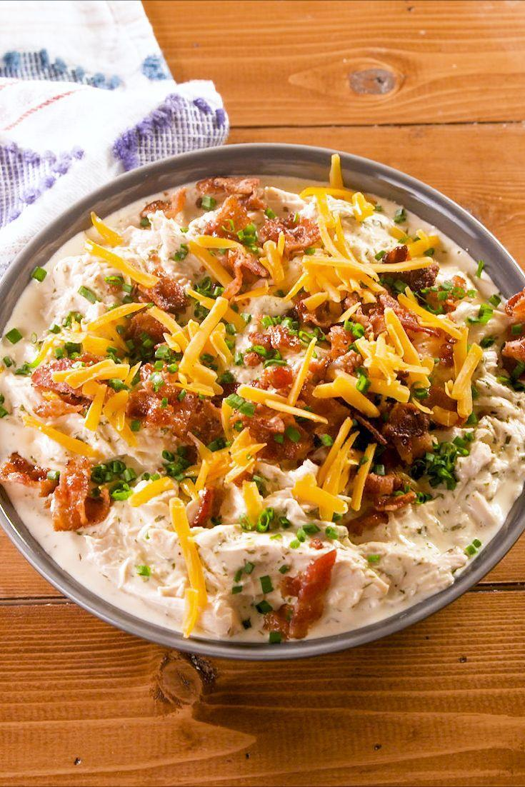 """<p>Even if you're not on the keto train, this creamy Crock-Pot chicken is still worth making. </p><p>Get the recipe from <a href=""""https://www.delish.com/cooking/recipe-ideas/a26845155/keto-crack-chicken-recipe/"""" rel=""""nofollow noopener"""" target=""""_blank"""" data-ylk=""""slk:Delish"""" class=""""link rapid-noclick-resp"""">Delish</a>.</p>"""