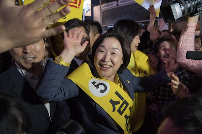 South Korean politician Sim Sang-Jeung, the only female candidate to succeed disgraced former president Park Geun-Hye, attends a campaign rally in Seoul (AFP Photo/Ed JONES)