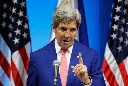 U.S. Secretary of State John Kerry speaks during a joint news conference with Philippine Foreign Affairs Secretary Perfecto Yasay (not pictured) at the Department of Foreign Affairs in Pasay city Metro Manila