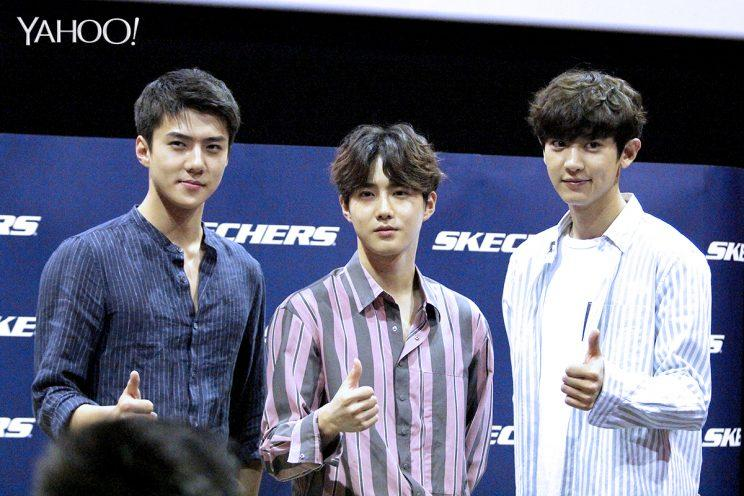 EXO greeted the media at the press conference for Skechers 'Sweet Monster' K-pop dance competition on 10 June. (Photo: Yahoo Lifestyle Singapore)