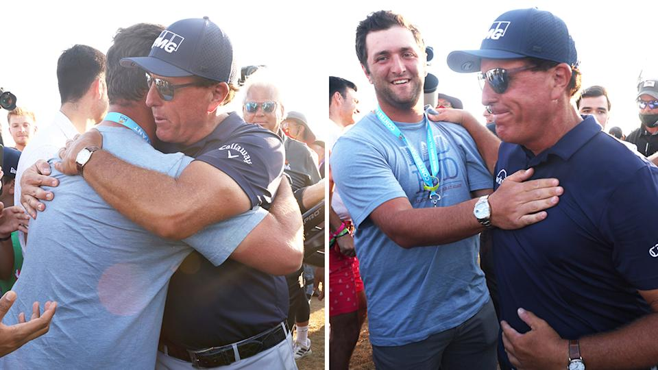 World No.3 golfer Jon Rahm (pictured left) his friend Phil Mickelson (pictured right) after he won the US PGA Championship.