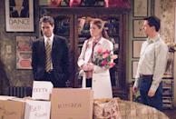 <p>Messing didn't fool anyone while pregnant during <em>Will and Grace'</em>s sixth season, though she attempted to hide her bump with everything from flowers to towels. No matter what, it was always pretty obvious that the star was expecting.</p> <p>Messing ended up not appearing in the last four episodes of the season because she was put on bed rest. </p>
