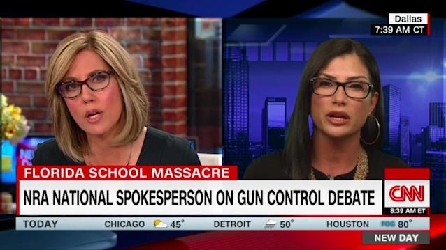 CNN's Alisyn Camerota discusses gun control with the NRA's Dana Loesch on Friday. (Screengrab via Yahoo News)