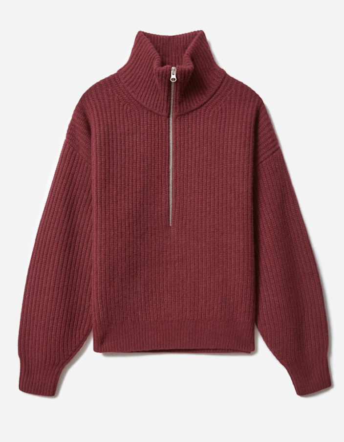"Everlane has been delivering quality basics at accessible price points since the beginning, and this burgundy half-zip is no exception. Throw it over <a href=""https://www.glamour.com/gallery/stuff-we-want-february?mbid=synd_yahoo_rss"" rel=""nofollow noopener"" target=""_blank"" data-ylk=""slk:heather-gray sweatpants"" class=""link rapid-noclick-resp"">heather-gray sweatpants</a> for a look that's cozy enough for lounging but still put together for stepping out. $120, Everlane. <a href=""https://www.everlane.com/products/womens-felted-merino-halfzip-sweater-oxblood"" rel=""nofollow noopener"" target=""_blank"" data-ylk=""slk:Get it now!"" class=""link rapid-noclick-resp"">Get it now!</a>"