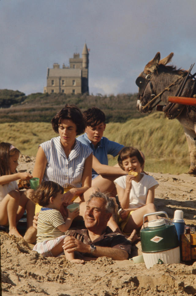 Louis Mountbatten with his daughter, Lady Patricia Bradbourne, and her children, from left, Joanna, Philip, Norton and Amanda, in front of Classiebawn Castle, Co Sligo. (Getty Images)