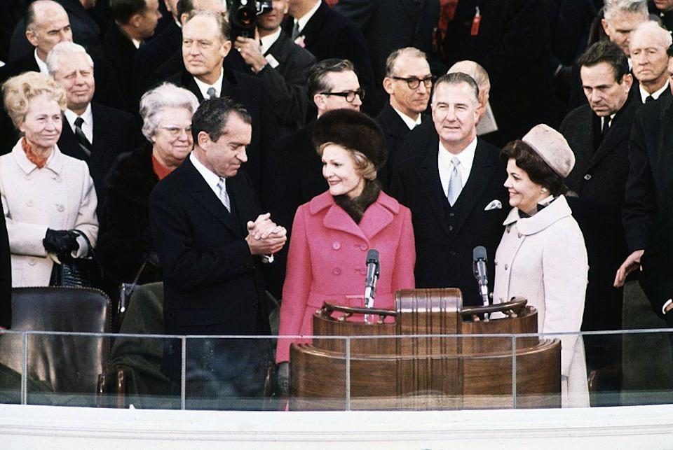 <p>Patricia Nixon was considered a fashion trailblazer even before her husband was sworn in as president. At her husband's 1969 inauguration, she wore a fur hat, rather than a cloth one, and a bright pink coat trimmed in fur. </p>