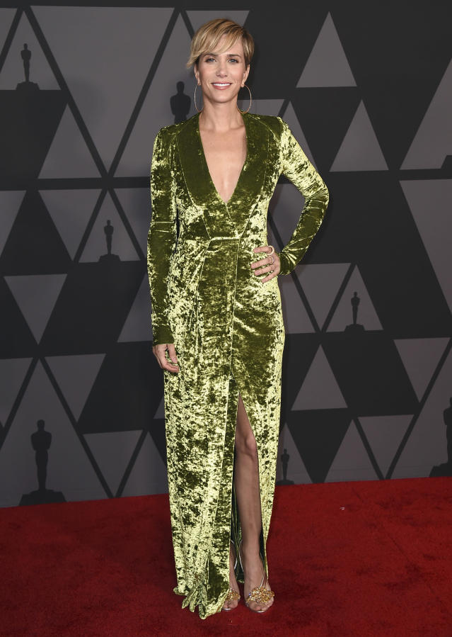 Kristen Wiig arrives at the 9th annual Governors Awards at the Dolby Ballroom on Saturday, Nov. 11, 2017, in Los Angeles. (Photo by Jordan Strauss/Invision/AP)