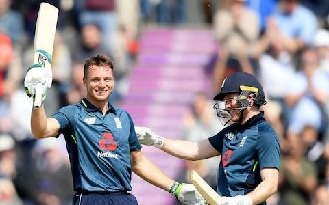 Jos Buttler of England celebrates his century with Eoin Morgan of England during the second One Day International between England and Pakistan at The Ageas Bowl on May 11, 2019 in Southampton, England - Credit: Getty Images