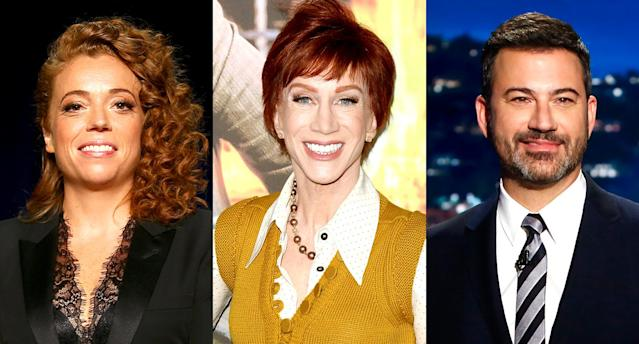Michelle Wolf, Kathy Griffin, and Jimmy Kimmel. (Photos: Getty Images)