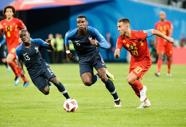 N'Golo Kante, Paul Pogba and Eden Hazard were all no-brainer picks for our 2018 World Cup Best XI. (Getty)