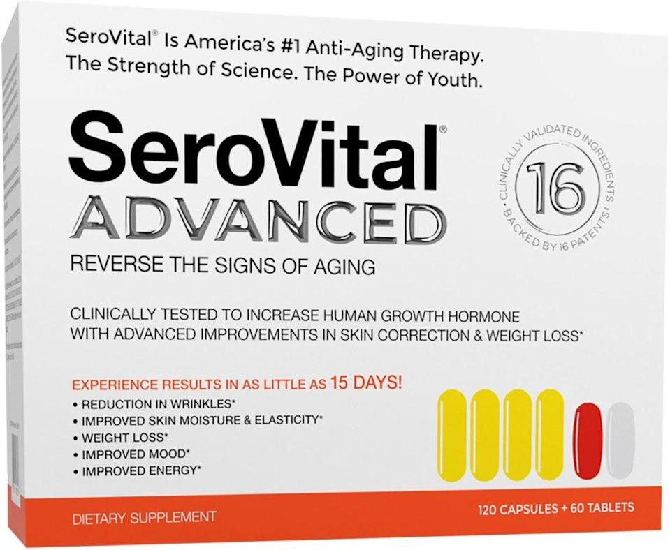 """<h3>SeroVital Advanced</h3><br><strong>Date: </strong>March 16<br><strong>Also On Sale:</strong> <a href=""""https://www.ulta.com/essential-energy-moisturizing-cream?productId=xlsImpprod17491047#locklink"""" rel=""""nofollow noopener"""" target=""""_blank"""" data-ylk=""""slk:Shiseido Essential Energy Moisturizing Cream 1.7 oz"""" class=""""link rapid-noclick-resp"""">Shiseido Essential Energy Moisturizing Cream 1.7 oz</a> <br><br><strong>Serovital</strong> Advanced, $, available at <a href=""""https://go.skimresources.com/?id=30283X879131&url=https%3A%2F%2Fwww.ulta.com%2Fadvanced%3FproductId%3Dpimprod2004867%23locklink"""" rel=""""nofollow noopener"""" target=""""_blank"""" data-ylk=""""slk:Ulta Beauty"""" class=""""link rapid-noclick-resp"""">Ulta Beauty</a>"""