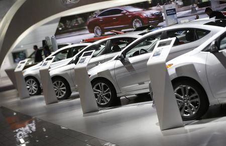 Hyundai vehicles are lined up in the company's presentation area during the North American International Auto Show in Detroit