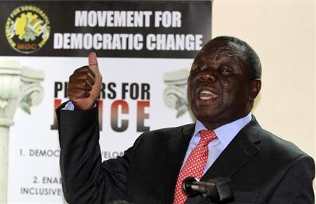 Zimbabwe opposition party Movement For Democratic Change (MDC) leader Morgan Tsvangirai addresses a news conference in Harare