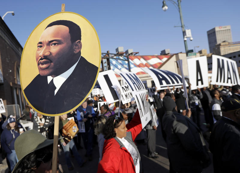 People gather for events commemorating the 50th anniversary of the assassination of the Rev. Martin Luther King Jr. on Wednesday in Memphis. (AP)