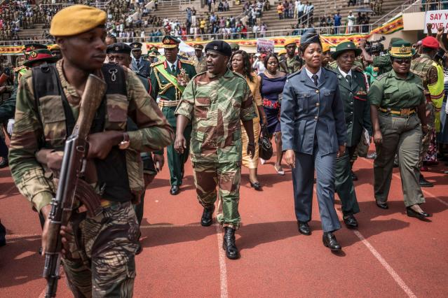<p>Zimbabwe Army Chief of Staff General Constantino Chiwenga arrives at the National Sport Stadium in Harare, on Nov. 24, 2017 during an inauguration ceremony. (Photo: Zinyange AuntonyAFP/Getty Images) </p>
