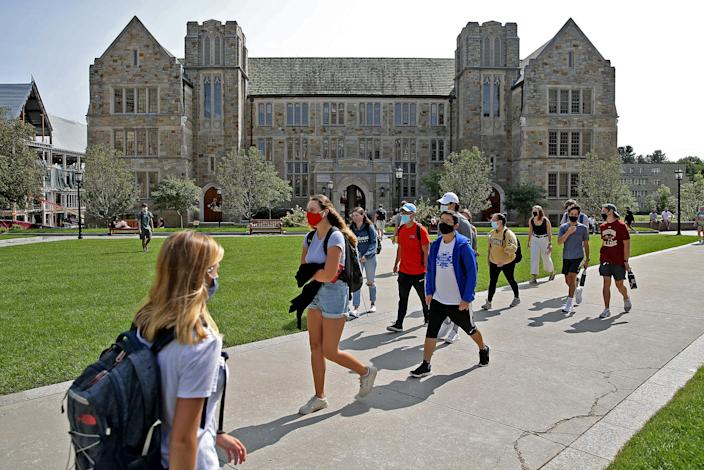 Mask wearing students at the Boston College Campus on September 14, 2020 in Chestnut Hill, Massachusetts.   (Matt Stone/ MediaNews Group/Boston Herald via Getty Images)