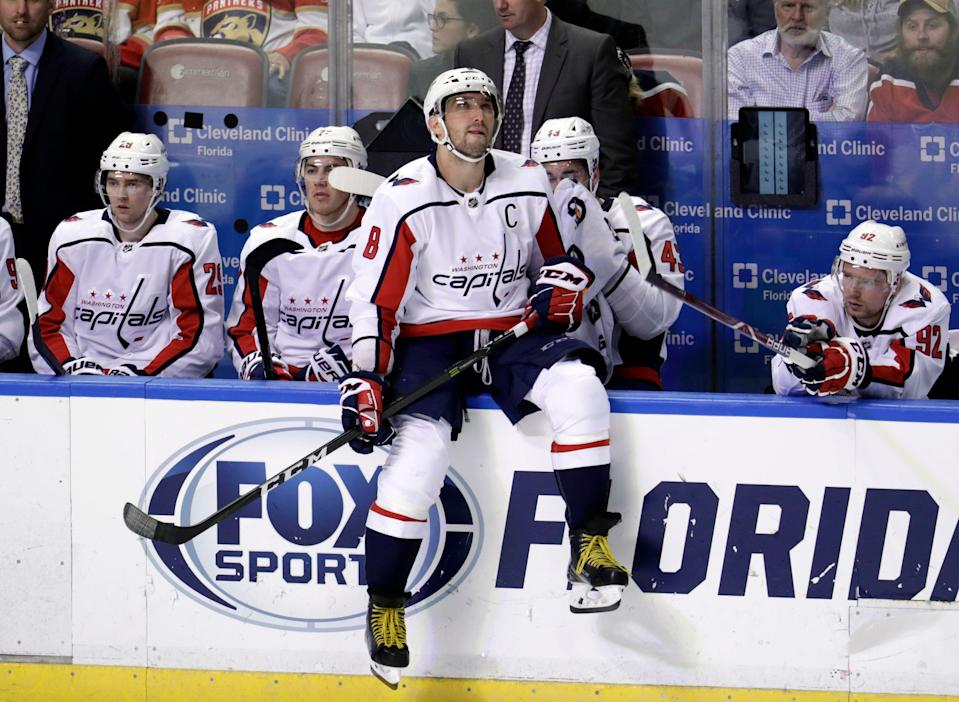 Washington Capitals left wing Alex Ovechkin (8) sits on the sideline during the third period of an NHL hockey game against the Florida Panthers, Monday, April 1, 2019, in Sunrise, Fla. The Panthers won 5-3. (AP Photo/Lynne Sladky)