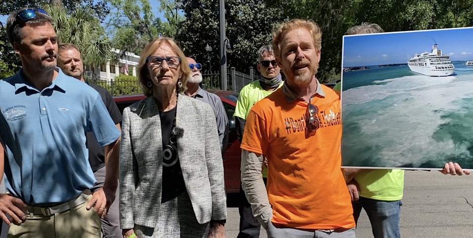 The supporters of a Key West ordinance that imposes new limits on large cruise ships at the city's port gathered outside the Governor's Mansion in Tallahassee Wednesday, April 14, 2021, to urge Gov. Ron DeSantis to reject legislation that would undermine their law. From left, Will Benson, fishing guide, Key West Mayor Teri Johnston, organizer and Key West resident Arlo Haskell.