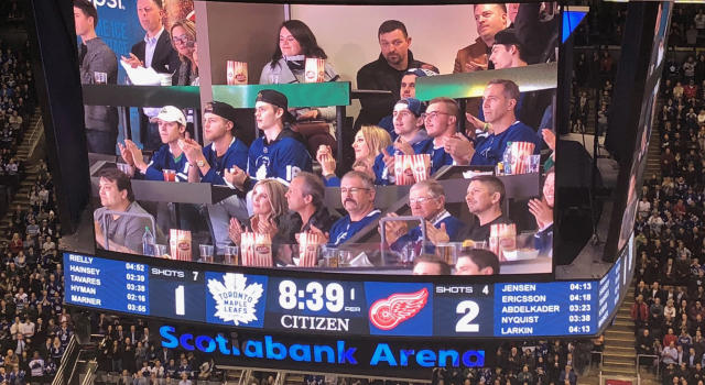 Members of the Humboldt Broncos were honoured at the Toronto Maple Leafs game. (Twitter // @Dwakiji)