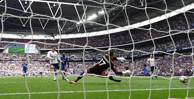 "Soccer Football - Premier League - Tottenham Hotspur vs Leicester City - Wembley Stadium, London, Britain - May 13, 2018 Tottenham's Erik Lamela scores their fourth goal REUTERS/Dylan Martinez EDITORIAL USE ONLY. No use with unauthorized audio, video, data, fixture lists, club/league logos or ""live"" services. Online in-match use limited to 75 images, no video emulation. No use in betting, games or single club/league/player publications. Please contact your account representative for further details."