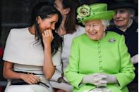 <p>Meghan laughs with the queen during a ceremony to open the new Mersey Gateway Bridge in the town of Widnes in Halton, Cheshire, England.</p>