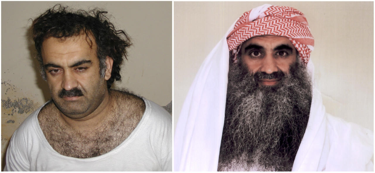 At left a March 1, 2003 photo obtained by the Associated Press shows Khalid Sheikh Mohammed, the alleged Sept. 11 mastermind, shortly after his capture during a raid in Pakistan. At right, a photo downloaded from the Arabic language Internet site www.muslm.net and purporting to show a man identified by the Internet site as Khalid Sheik Mohammed, the accused mastermind of the Sep. 11 attacks, is seen in detention at Guantanamo Bay, Cuba. The picture was allegedly taken in July 2009 by the International Committee of the Red Cross (ICRC) and released only to the detainee's family under a new policy allowing the ICRC to photograph Guantanamo inmates, ICRC spokesman Bernard Barrett said Wednesday, Sept. 9, 2009. Five men accused of orchestrating the Sept. 11 attacks, including the self-proclaimed mastermind, are headed back to a military tribunal at Guantanamo Bay more than three years after President Barack Obama put the case on hold in a failed effort to move the proceedings to a civilian court and close the prison at the U.S. base in Cuba. (AP Photo/www.muslm.net)