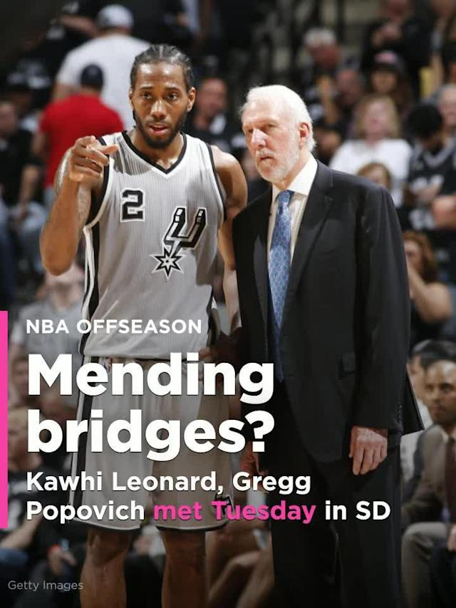 San Antonio Spurs star Kawhi Leonard met with coach Gregg Popovich on Tuesday in San Diego, league sources told Yahoo Sports.