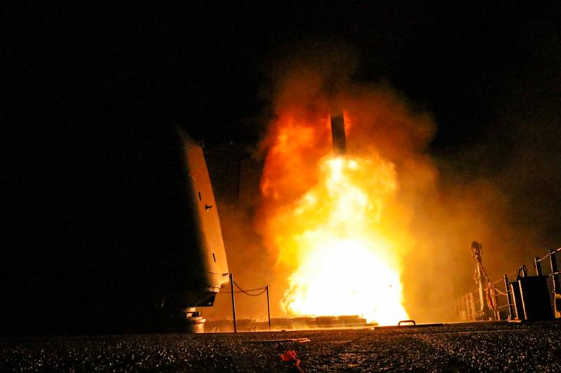 The Navy cruiser USS Monterey fires a Tomahawk land attack missile on April 14, 2018. (Handout . / Reuters)