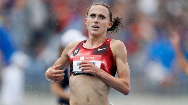 PHOTO: In this July 28, 2019 file photo, Shelby Houlihan crosses the finish line as she wins the women's 5,000-meter run at the U.S. Championships athletics meet, in Des Moines, Iowa. (Charlie Neibergall/AP, FILE)