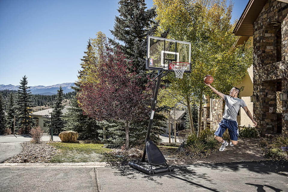 "Spalding NBA 54"" Portable Angled Basketball Hoop with Polycarbonate Blackboard. (Photo: Walmart)"