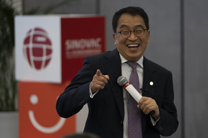Yin Weidong, CEO of the Chinese pharmaceutical company SinoVac, speaks to journalists during a tour of a vaccine factory in Beijing on Thursday, Sept. 24, 2020. SinoVac, one of China's pharmaceutical companies behind a leading COVID-19 vaccine candidate says its vaccine will be ready by early 2021 for distribution worldwide, including the U.S. (AP Photo/Ng Han Guan)