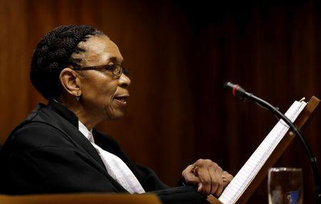 Judge Thokozile Masipa reads her verdict during an appeal hearing brought by prosecutors against the six-year jail term handed to Oscar Pistorius for the murder of his girlfriend Reeva Steenkamp in Johannesburg, South Africa, August 26, 2016. REUTERS/Themba Hadebe/Pool