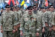 More than 5,000 Ukrainian forces, including veterans, marched in the independence day parade through Kiev