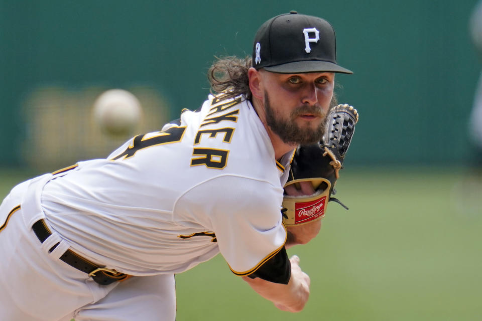 Pittsburgh Pirates starting pitcher JT Brubaker delivers during the first inning of a baseball game against the Cleveland Indians in Pittsburgh, Sunday, June 20, 2021. (AP Photo/Gene J. Puskar)
